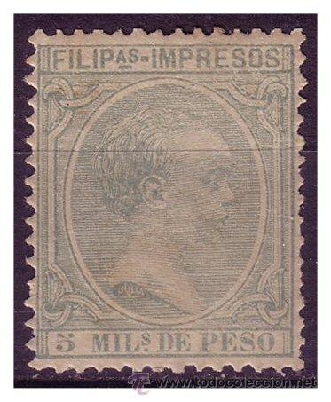 FILIPINAS 1891 ALFONSO XIII, EDIFIL Nº 90 * CLAVE (Sellos - España - Dependencias Postales - Filipinas)