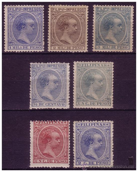 FILIPINAS 1896 ALFONSO XIII, EDIFIL Nº 117 A 123 * (Sellos - España - Dependencias Postales - Filipinas)