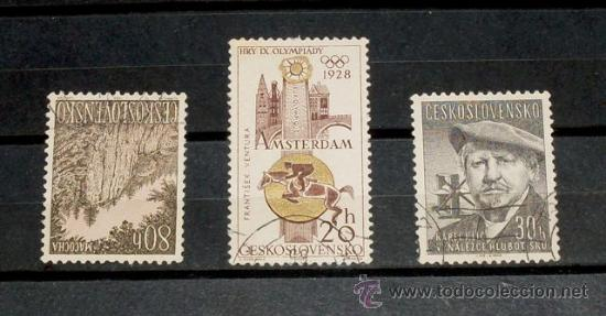 3 SELLOS CHECOSLOVAQUIA - CHEKOSLOVENSKO - USADOS (Sellos - España - Dependencias Postales - Filipinas)