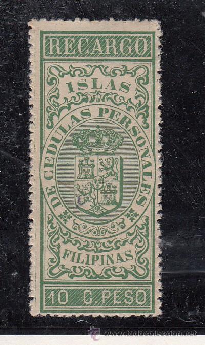 ,FILIPINAS FISCAL CATALOGO FORBIN RECARGO 2 CON CHARNELA, (Sellos - España - Dependencias Postales - Filipinas)