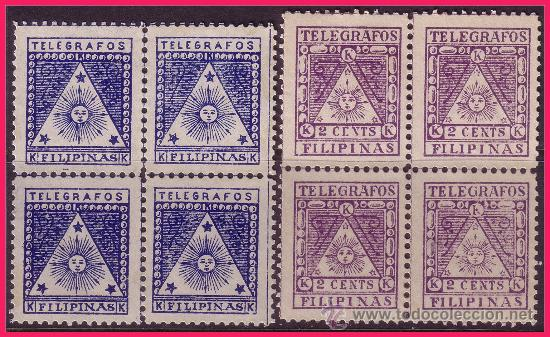 FILIPINAS TELÉGRAFOS 1898 CORREO INSURRETO B4 EDIFIL Nº 1 Y 2 * * (Sellos - España - Dependencias Postales - Filipinas)