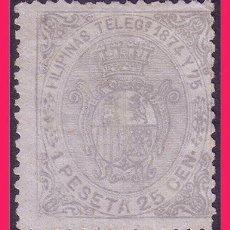 Sellos: FILIPINAS TELÉGRAFOS 1894 ESCUDO DE ESPAÑA, EDIFIL Nº 1 (*). Lote 32232250