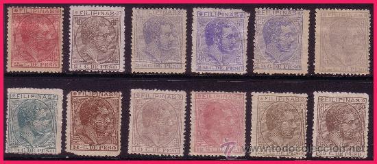 FILIPINAS 1880 ALFONSO XII, EDIFIL Nº 57 A 66 * / (*) (Sellos - España - Dependencias Postales - Filipinas)