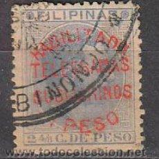 Sellos: FILIPINAS EDIFIL 59, SOBRECARGADO //HABILITADO TELEGRAMAS SUBMARINOS 1 PESO//, USADO ¡¡¡MUY RARO!!!. Lote 48285045