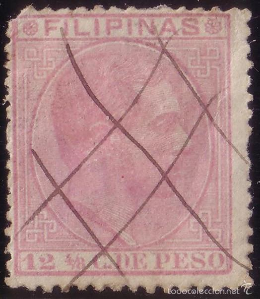 FILIPINAS. (CAT. 64). 12 4/8 C. MAT. MANUSCRITO * TRIPLE ASPA * DEL CORREO CERTIFICADO. RRR. (Sellos - España - Dependencias Postales - Filipinas)