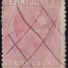 Sellos: FILIPINAS. (CAT. 64). 12 4/8 C. MAT. MANUSCRITO * TRIPLE ASPA * DEL CORREO CERTIFICADO. RRR.. Lote 56878117