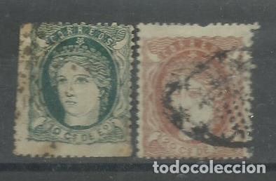PAREJA DE SELLOS DE FILIPINAS DE 1871 MATASELLADOS Nº 22/23 PRECIO DE CATALOGO 55 € (Sellos - España - Dependencias Postales - Filipinas)