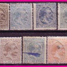 Sellos: FILIPINAS 1896 ALFONSO XIII, EDIFIL Nº 117 A 124 * / (*) 127, 128 Y 130 (O). Lote 69640981