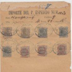 Sellos: ESPAÑA - SPAIN. FILIPINAS. RESGUARDO DE TELÉGRAFOS DE 1886 CON 8 SELLOS. BONITO. Lote 70145201