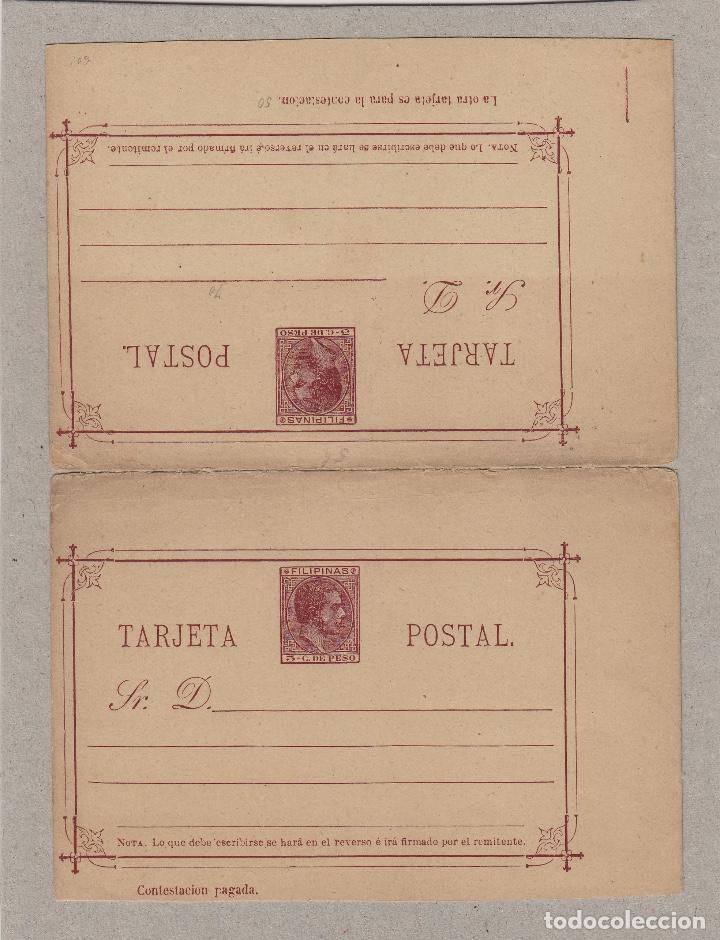 ENTERO POSTAL . FILIPINAS ALFONSO XII 1889 EDIFIL Nº 5 . VARIEDAD - PRIMERA LINEA MÁS CORTA - (Sellos - España - Dependencias Postales - Filipinas)