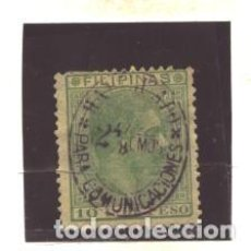 Sellos: FILIPINAS 1880- EDIFIL NRO. 66AU - ALFONSO XII -HAB. 2 4/8 S/. 10C.PESO- VERDE - SIN GOMA. Lote 95548207