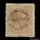 Sellos: FILIPINAS. 1886.ALFONSO XII. 2 4/8 S 20C S 20 C SEPIA OLIVA. HABILITADO PASAPORTES.EDIF 65 NUEVO. Lote 137254442
