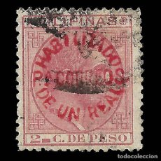 Timbres: FILIPINAS. 1880-1883 HABILITADO CORREOS 1 REAL. 1 R. S. 2 C. ROSA (ROJA).USADO. EDIF Nº 66M. Lote 137472006