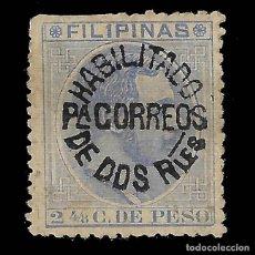 Sellos: 1880-1883 HABILITADO CORREOS 1 R. S. 2 4/8 C. AZUL GRIS. 50 A (NEGRA).NUEVO SIN GOMA.EDIF 66U. Lote 137491722