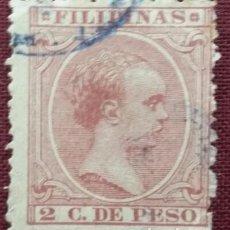 Sellos: FILIPINAS. 1891-93, ALFONSO XIII. 2 CTS. VIOLETA CASTAÑO (Nº 93 EDIFIL).. Lote 142806342