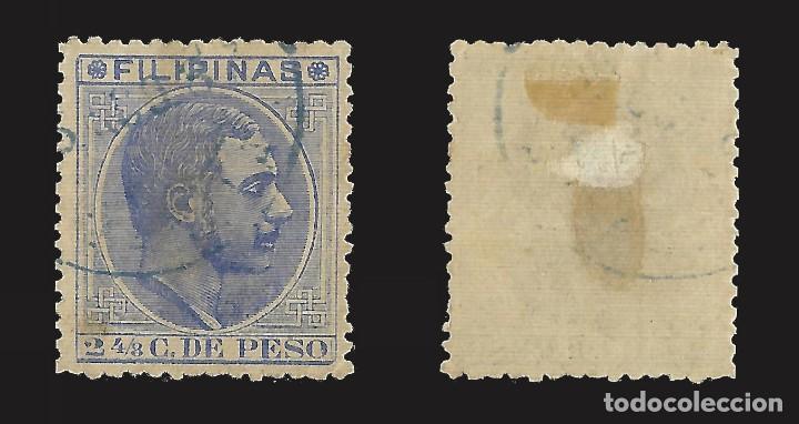 Sellos: FILIPINAS 1880-1883. Alfonso XII. 2 4/8 ct. Usado. Edifil nº59B. - Foto 2 - 143191982