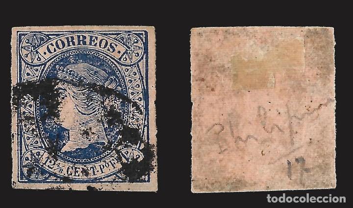 Sellos: FILIPINAS. 1864. Isabel II. 12 4/8 c. de p. azul.Usado. Edif. Nº19 Scott. Nº23 - Foto 2 - 143275758