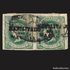 Sellos: FILIPINAS. 1864. ISABEL II. HABILITADO.6 2/8 C. DE P. VERDE.BLOQUE 2. USADO. EDIF. Nº20N SCOTT. Nº3. Lote 143277466