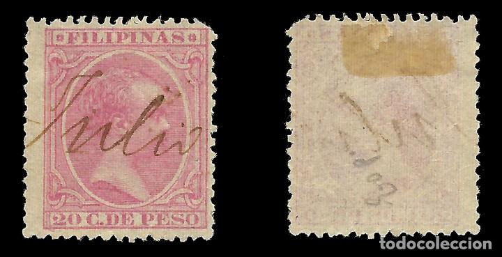 Sellos: FILIPINAS. 1890. Alfonso XIII. 2ct rosa .Usado.Edifil nº86 Scott nº 172 - Foto 2 - 143845374