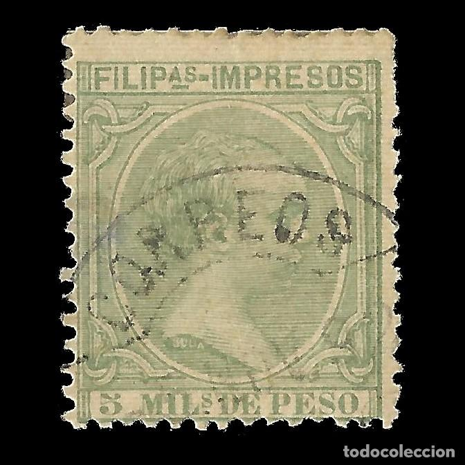 FILIPINAS 1891-1893. ALFONSO XIII. 5M.VERDE CLARO. USADO. EDIFIL Nº90. (Sellos - España - Dependencias Postales - Filipinas)