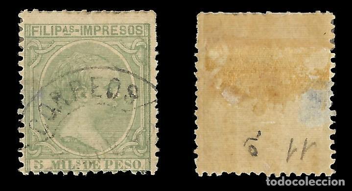 Sellos: FILIPINAS 1891-1893. Alfonso XIII. 5m.verde claro. Usado. Edifil nº90. - Foto 2 - 143859838