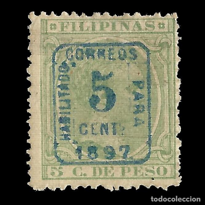 FILIPINAS 1897.ALFONSO XII. HABILITADO.5C S 5C VERDE CLARO.NUEVO* EDIFIL Nº130B.SCOTT Nº 181 (Sellos - España - Dependencias Postales - Filipinas)