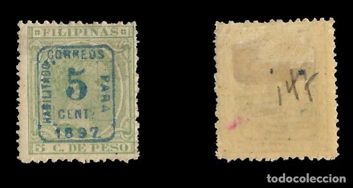 Sellos: FILIPINAS 1897.Alfonso XII. Habilitado.5c s 5c verde claro.Nuevo* Edifil nº130B.Scott nº 181 - Foto 2 - 143915482