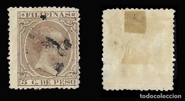 Sellos: FILIPINAS 1886-1897. Alfonso XIII.5ct. Castaño violeta.Usado. Edifil nº124.Scott nº 155 - Foto 2 - 145815006