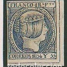 Sellos: FILIPINAS. ED. 3. 1 REAL AZUL OSCURO 1854.RECORTE DE FOTOGRAMA PARA RELLENAR EN ÁLBUM. Lote 148670778