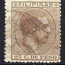 Sellos: FILIPINAS 1880-1883 - 25 C. DE PESO - ALFONSO XII - EDIFIL 66 - USADO. Lote 177247553