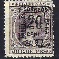 Sellos: FILIPINAS 1894 - 20 C. DE PESO HABILITADO PARA CORREOS - ALFONSO XIII - EDIFIL 130H - NUEVO *. Lote 177307943