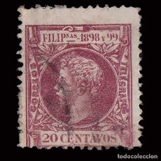 Sellos: SELLOS. ESPAÑA. FILIPINAS.1898. ALFONSO XIII.20CT.CARMÍN OSCURO. USADO. EDIFIL Nº145.SCOTT Nº 206.. Lote 178085640