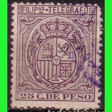 Sellos: FILIPINAS TELÉGRAFOS 1896 ESCUDO DE ESPAÑA, EDIFIL Nº 65 (O). Lote 187512163