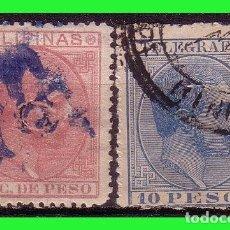 Sellos: FILIPINAS TELÉGRAFOS 1886 ALFONSO XII, EDIFIL Nº 10 Y 23 (O). Lote 187512490
