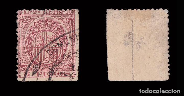 Sellos: Filipinas.Telégrafos 1896 Escudo.5P.Usado.Edifil 68. - Foto 2 - 191509531