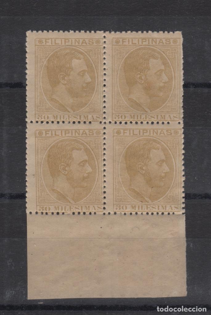 1886 EXCOLONIA ESPAÑOLA FILIPINAS ALFONSO XII - EDIFIL 71** MNH - BLOQUE 4 (Sellos - España - Dependencias Postales - Filipinas)