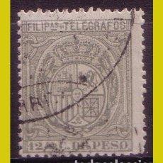 Sellos: FILIPINAS TELÉGRAFOS 1894 ESCUDO DE ESPAÑA, EDIFIL Nº 52 (O). Lote 212771867