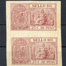 Sellos: 1898-1899 FILIPINAS ESPAÑOL. PÓLIZA 25C. DE PESO. PAREJA SIN DENTAR. PHILIPPINES REVENUE STAMP.. Lote 231549825