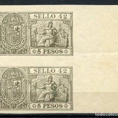 Sellos: 1898-1899 FILIPINAS ESPAÑOL. PÓLIZA 5 PESOS. PAREJA SIN DENTAR. PHILIPPINES REVENUE STAMP.. Lote 231550535