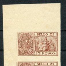 Sellos: 1898-1899 FILIPINAS ESPAÑOL. PÓLIZA 15 PESOS. PAREJA SIN DENTAR. PHILIPPINES REVENUE STAMP.. Lote 231550835