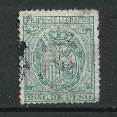 Sellos: ESPAÑA FILIPINAS TELEGRAFOS 1896 EDIFIL 60 USADO - 7/7. Lote 233874875