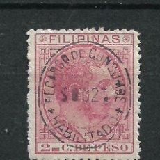 Sellos: ESPAÑA FILIPINAS 1880 EDIFIL 57 HABILITADO CONSUMO - 7/7. Lote 233874995