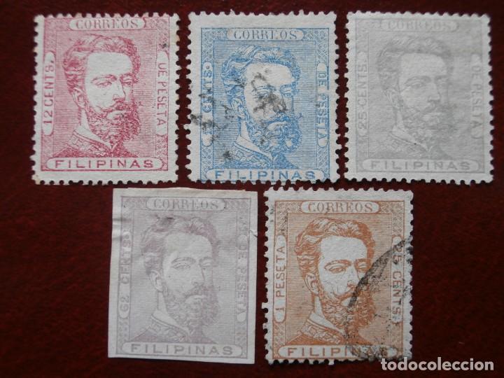 ESPAÑA - PRIMER CENTENARIO - COLONIAS - FILIPINAS 1872 - AMADEO I DE SABOYA - EDIFIL 25/29. (Sellos - España - Dependencias Postales - Filipinas)
