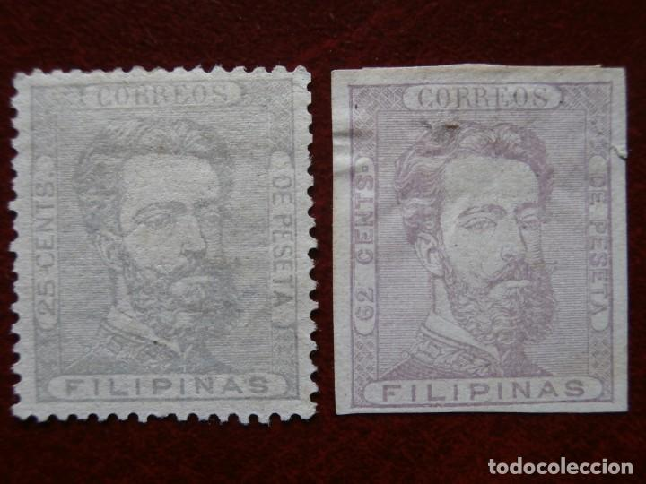 Sellos: ESPAÑA - PRIMER CENTENARIO - COLONIAS - FILIPINAS 1872 - AMADEO I DE SABOYA - EDIFIL 25/29. - Foto 4 - 246697495
