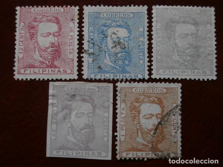 Sellos: ESPAÑA - PRIMER CENTENARIO - COLONIAS - FILIPINAS 1872 - AMADEO I DE SABOYA - EDIFIL 25/29. - Foto 8 - 246697495