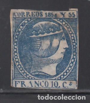 FILIPINAS, 1854 EDIFIL Nº 4 (*), 10 C. AZUL OSCURO (Sellos - España - Dependencias Postales - Filipinas)
