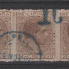 Sellos: FILIPINAS 1876 - 1898 LOTE DE 3 FICHAS CON SELLOS CON MATASELLOS PARCIALES. Lote 266138943