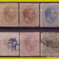 Sellos: FILIPINAS TELÉGRAFOS 1886 ALFONSO XII, EDIFIL Nº 9 Y 20 *, 10, 12, 14 Y 17 (O). Lote 277185688