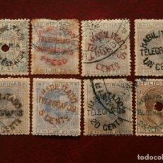 Sellos: ESPAÑA PRIMER CENTENARIO - RAROS SELLOS DE FILIPINAS 1886-88 HABILITADOS PARA TELEGRAFOS -. Lote 278952418