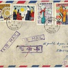 Sellos: 1963- CORREO AEREO COREA DE SUR 1963 HISTORIA POSTAL COREA- COLOMBIA. CARTA VOLADA. Lote 51885143